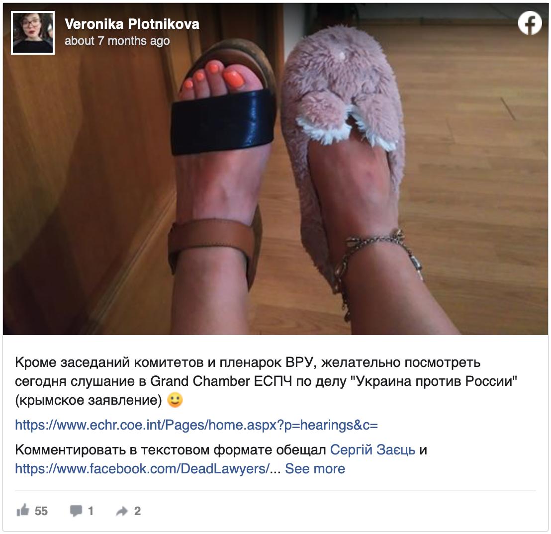 Facebook post by Veronica Plotnikova